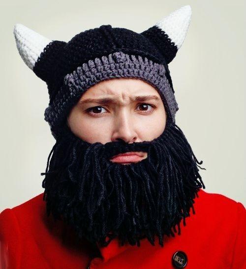 шапка с бородой викинг купить вязаную бородатую шапку в интернет