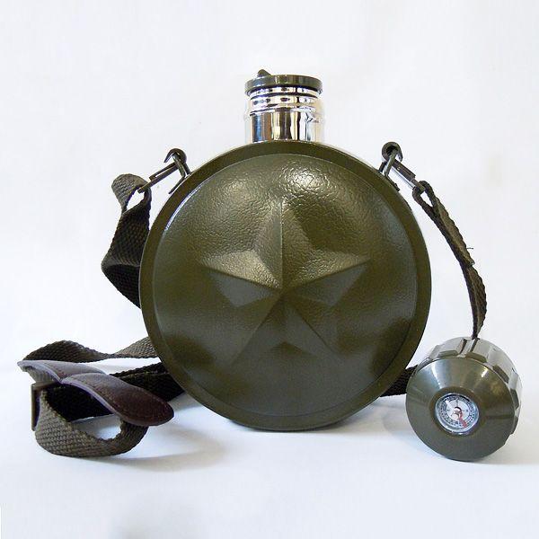 Термофляга армейская с компасом